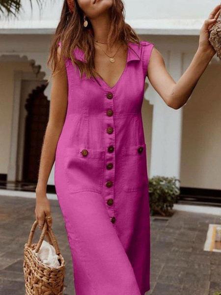 Milanoo Vestido de verano Vestido de playa de algodon poliester rojo con cuello en V