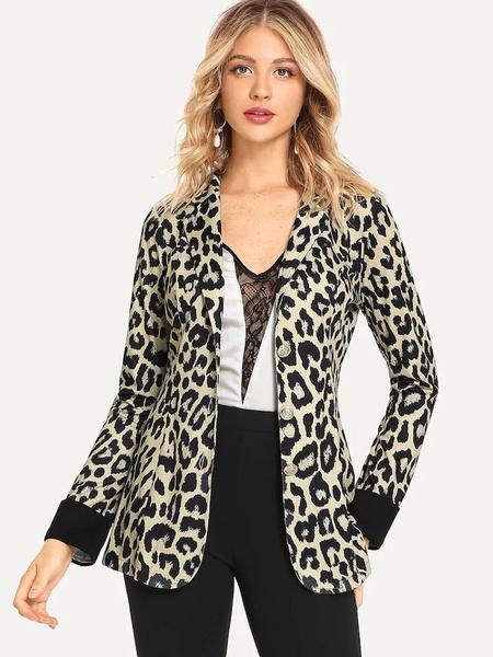 Milanoo Leopard Blazer Jacket Long Sleeve Button Casual Blazer For Women