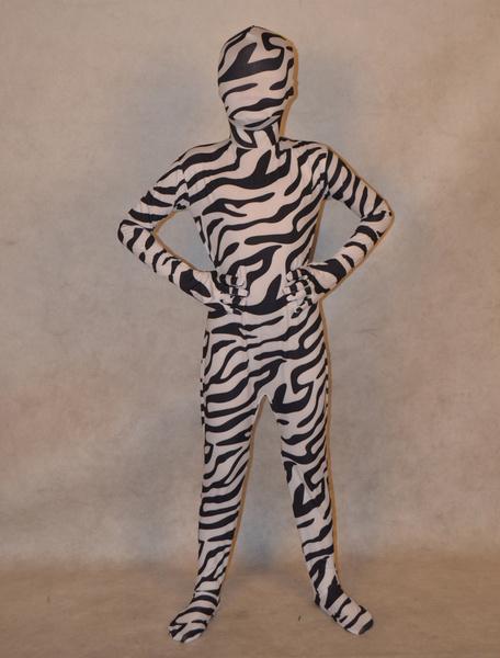 Milanoo Disfraz Halloween Zentai de elastano de marca LYCRA de estampado de cebra para niños Halloween