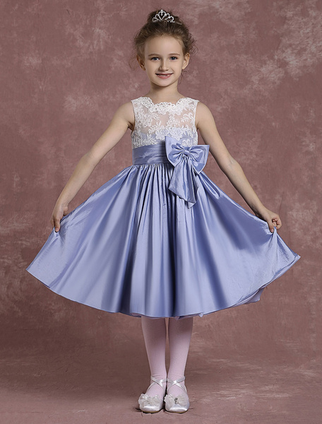 Milanoo Flower Girl Dresses Taffeta Lace Pageant Dresses Toddler's A Line Knee Length Pleated Bow Dinner Dress