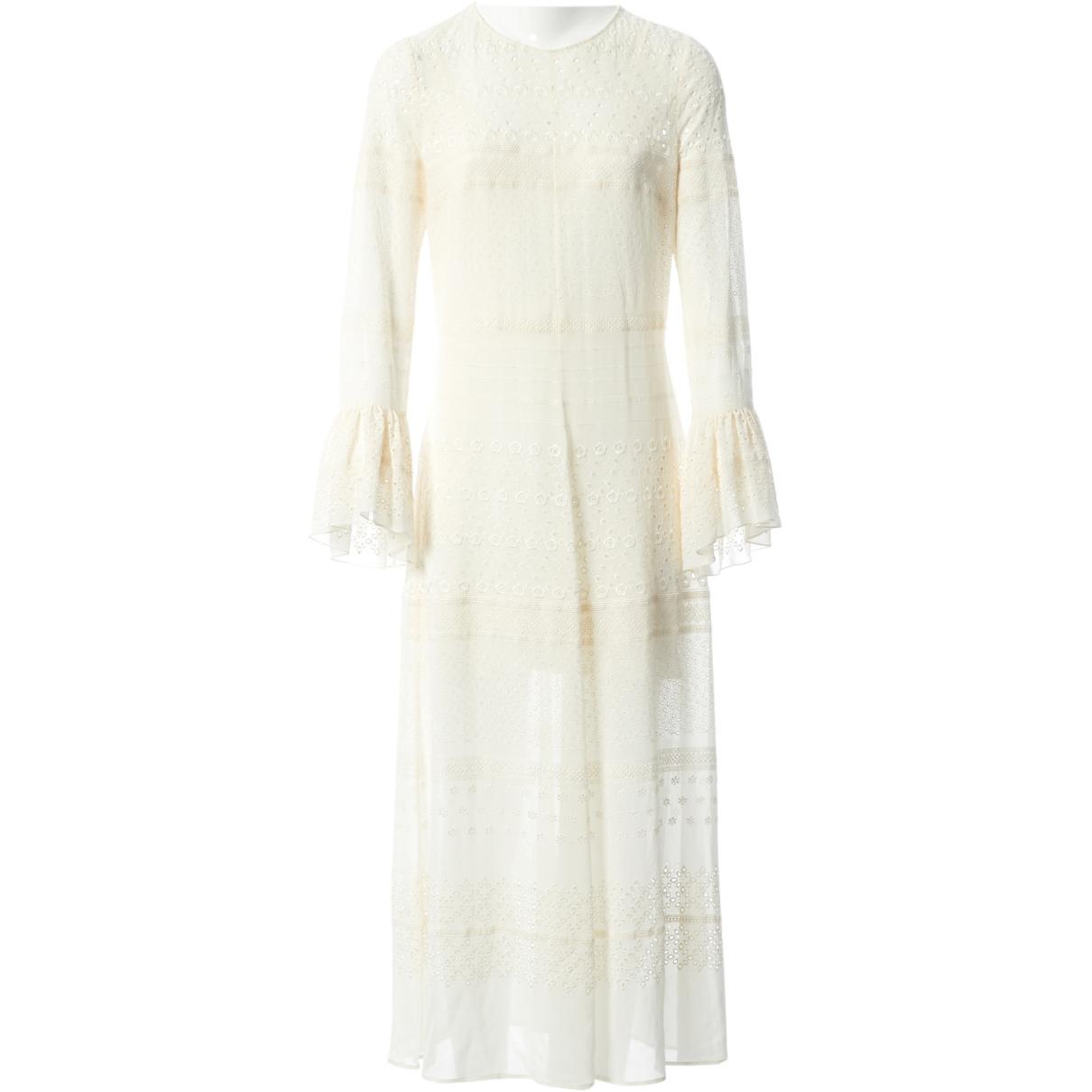 Saint Laurent \N Ecru Silk dress for Women 36 FR