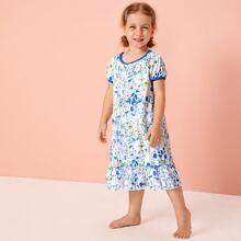 Toddler Girls Plants & Floral Print Contrast Trim Night Dress