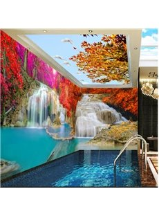 Yellow Tree with Bird and Waterfall Pattern 3D Waterproof Ceiling and Wall Murals