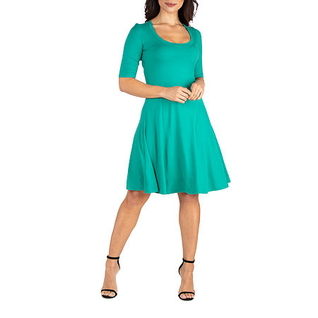 24/7 Comfort Apparel 3/4 Sleeve A-Line Dress, Large , Green