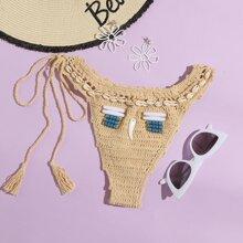 Crochet Shell Decor Bikini Bottom