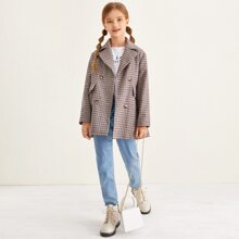 Girls Notch Collar Embroidery Letter Flap Detail Pea Coat