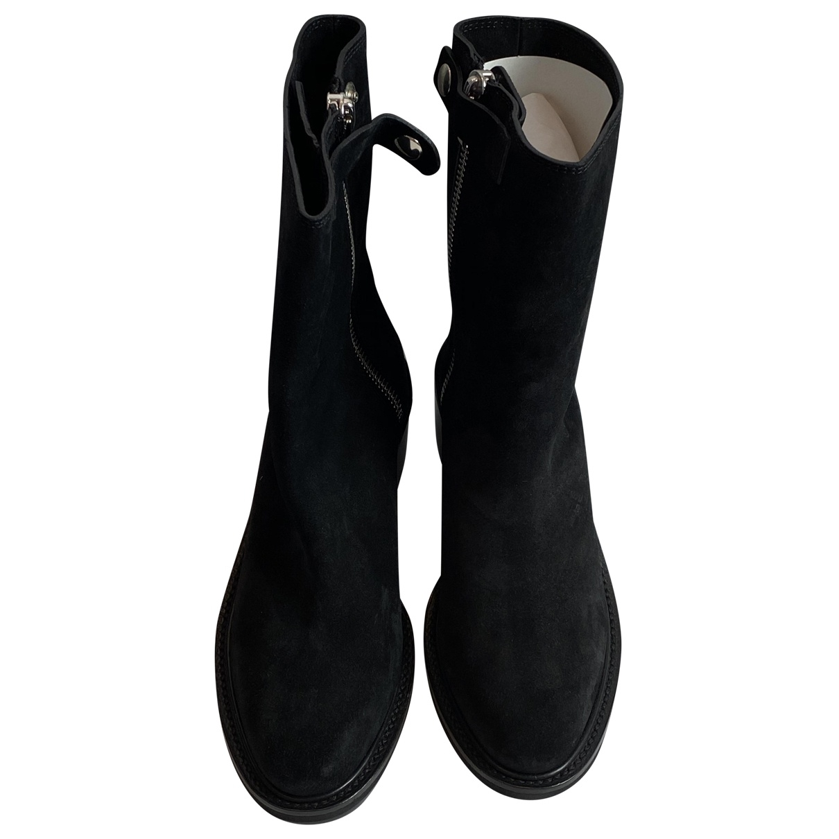 Costume National \N Stiefel in  Schwarz Veloursleder