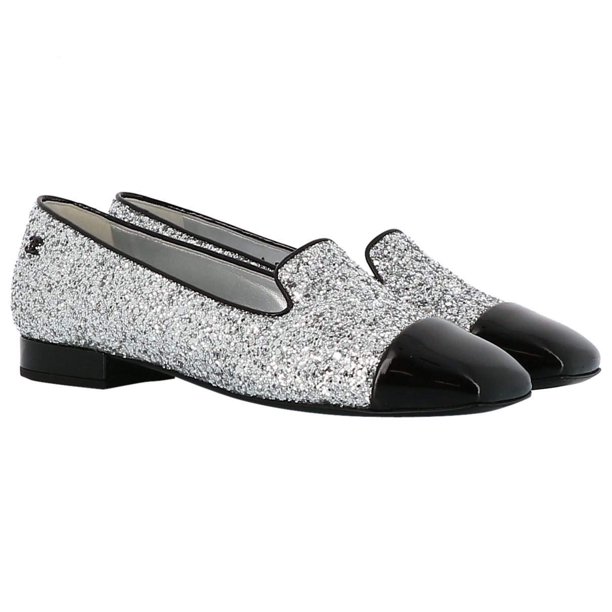 Chanel N Silver Glitter Flats for Women 36 EU