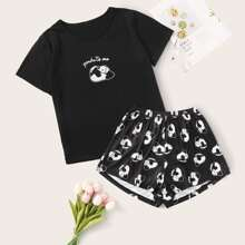 Conjunto de pijama con estampado de panda y letra