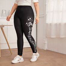 Plus Musical Note Print Leggings