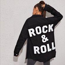 Slogan Patch Raw Hem Longline Denim Jacket