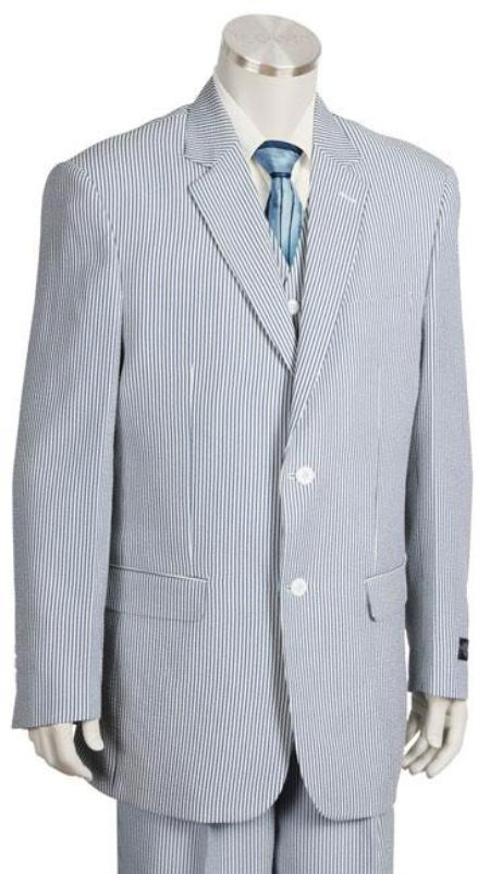 3Piece 2Button Single Breasted Notch Lapel with Vest Poly Rayon Blue