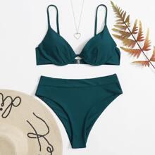 Bikini Badeanzug mit Buegel und hoher Taille