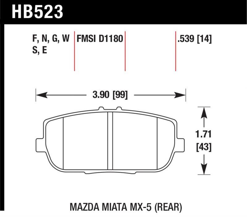 Hawk Performance HB523F.539 Disc Brake Pad Mazda Miata Rear