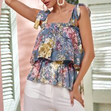 Tiered Layer Tie Shoulder Floral Cami Top