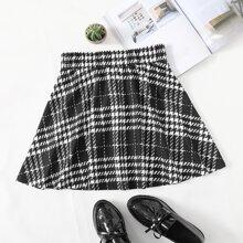 Falda de cuadros de cintura elastica