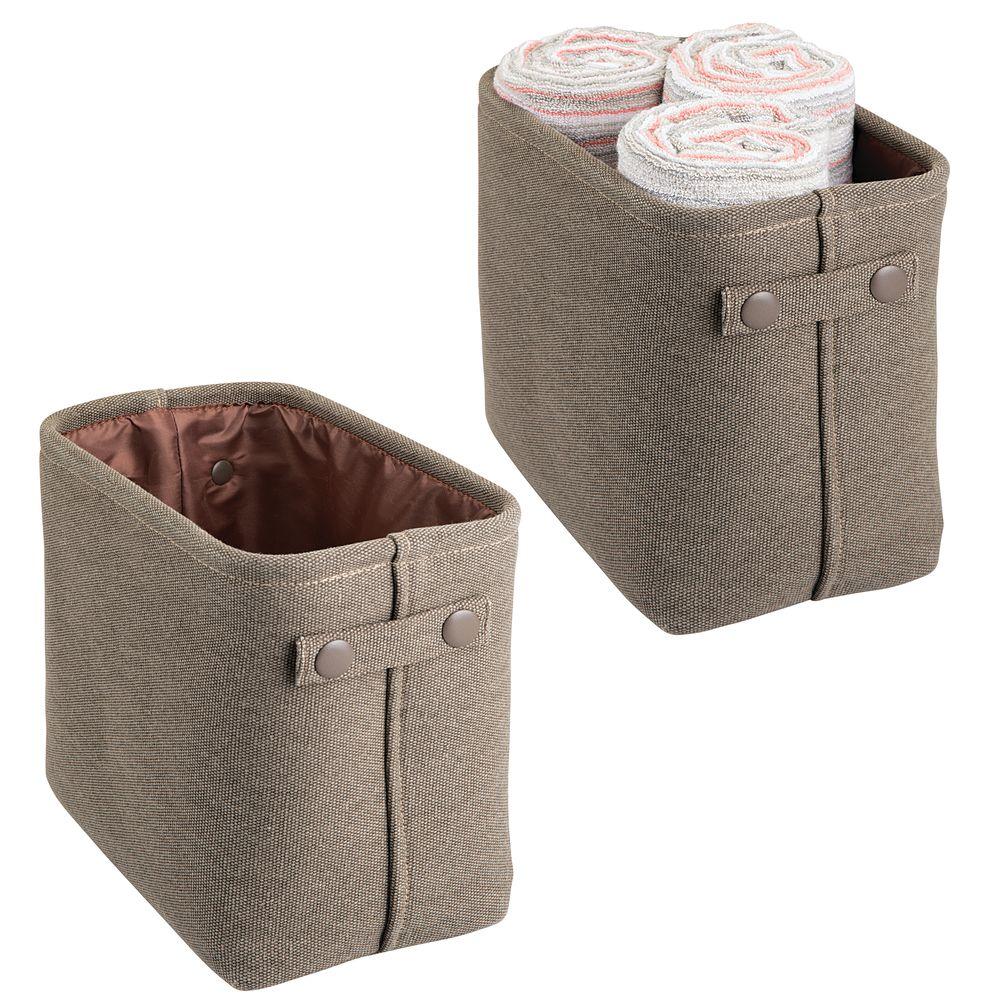 Tall Fabric Bathroom Storage Bin with Handles in Espresso, 10.5