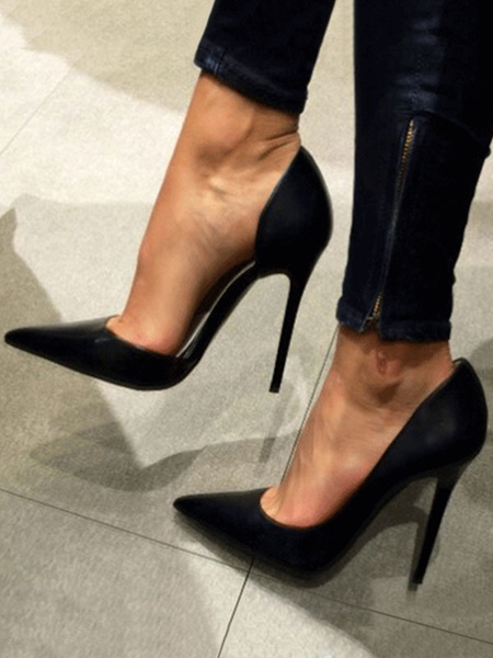 Milanoo Zapatos de tacon de puntera puntiaguada de saten negros Color liso de tacon de stiletto