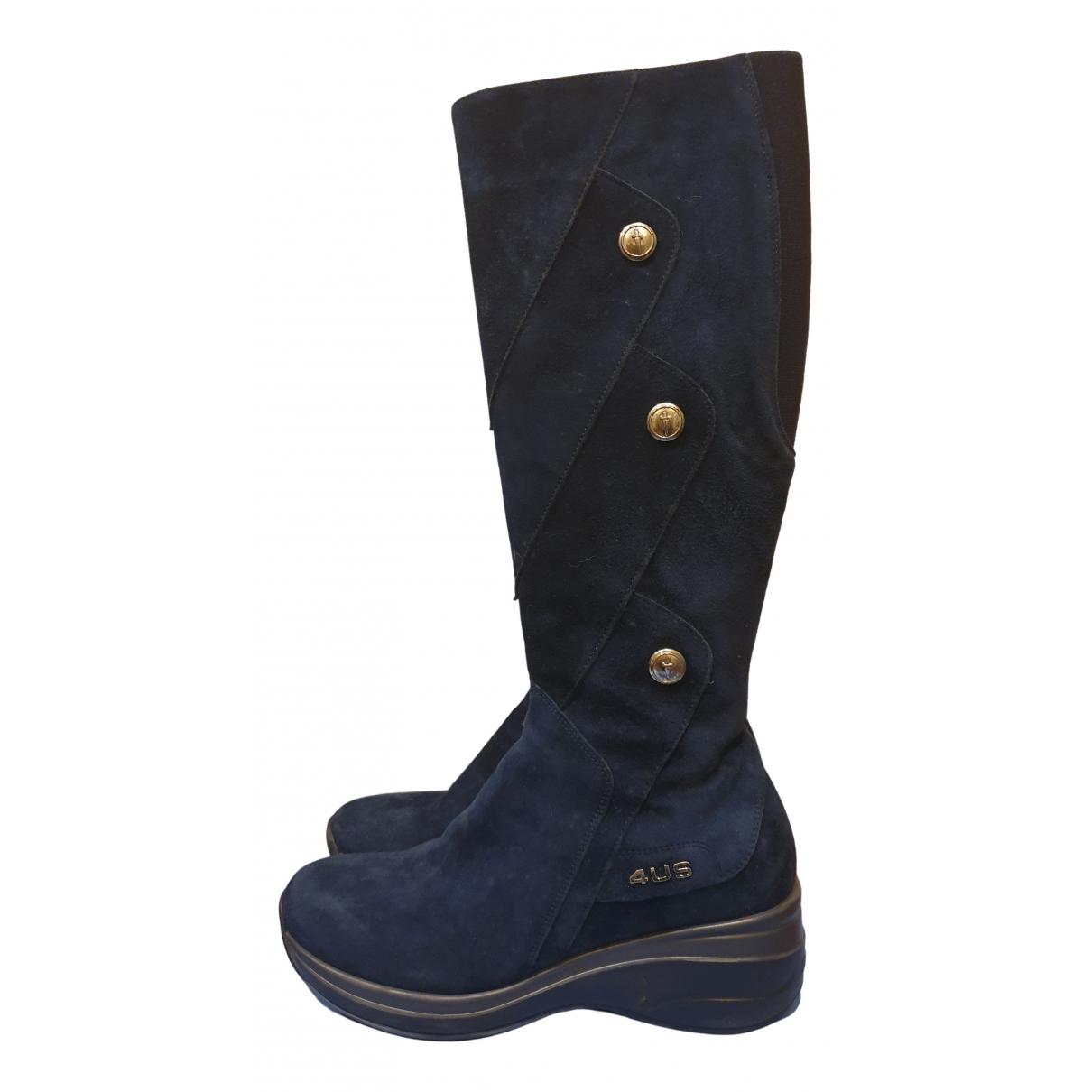 Cesare Paciotti N Blue Suede Boots for Women 38 IT