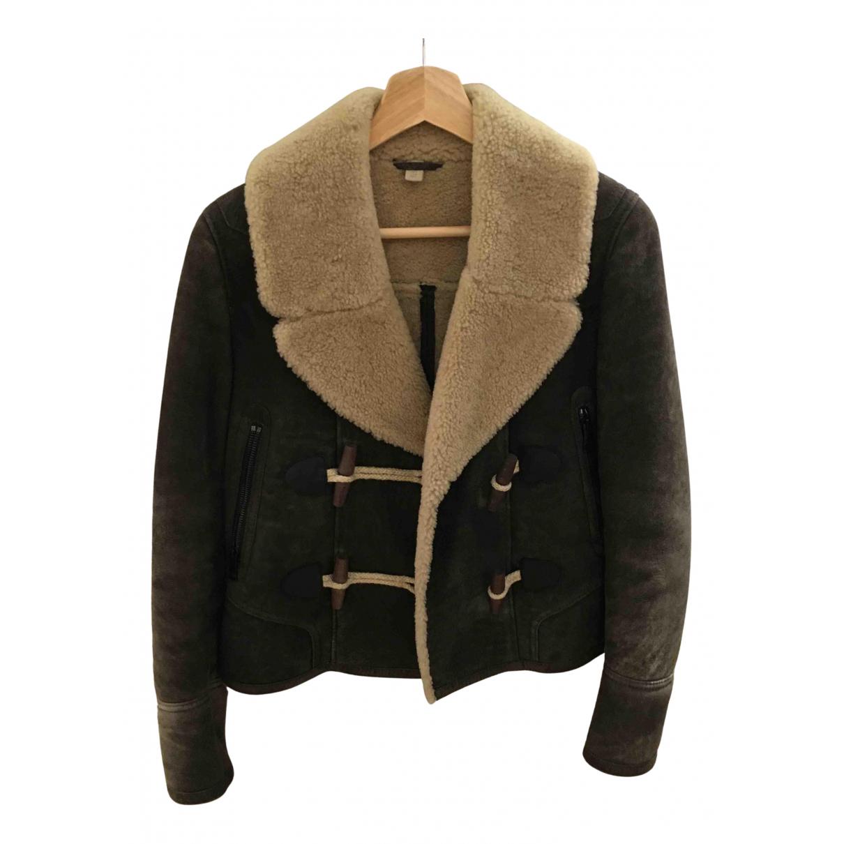 Burberry - Manteau   pour femme en cuir - marron