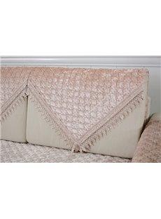 Warm Beige Plush Thicken Pleuche Design Slip Resistant Sofa Covers