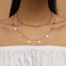 Mehrschichtige Halskette mit Schmetterling Anhaenger