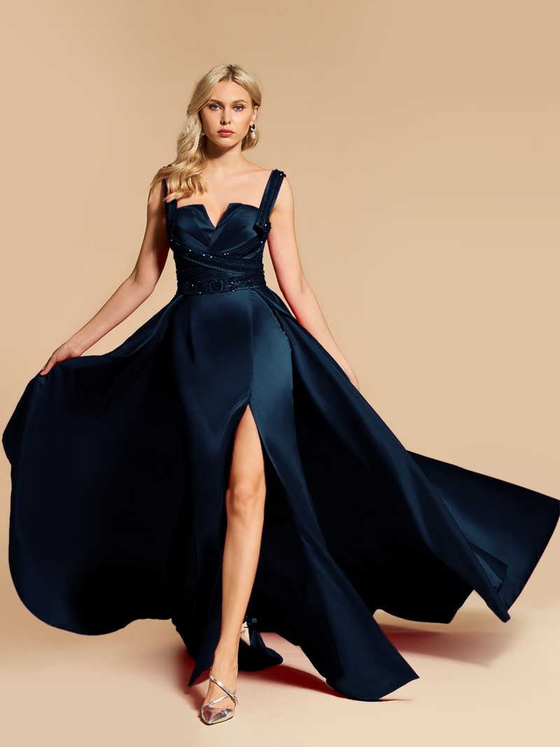 Ericdress A Line Straps Beaded Evening Dress With Side Slit