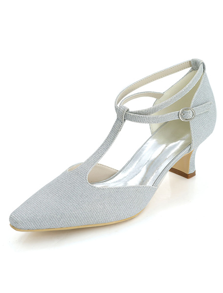 Milanoo Zapatos de novia Tela-brillante Zapatos de Fiesta de tacon gordo Zapatos azul  Zapatos de boda de puntera cuadrada 5.5cm