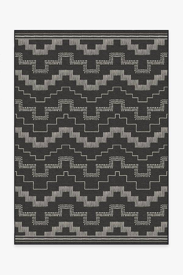 Washable Rug Cover & Pad   Outdoor Meseta Black Rug   Stain-Resistant   Ruggable   5'x7'