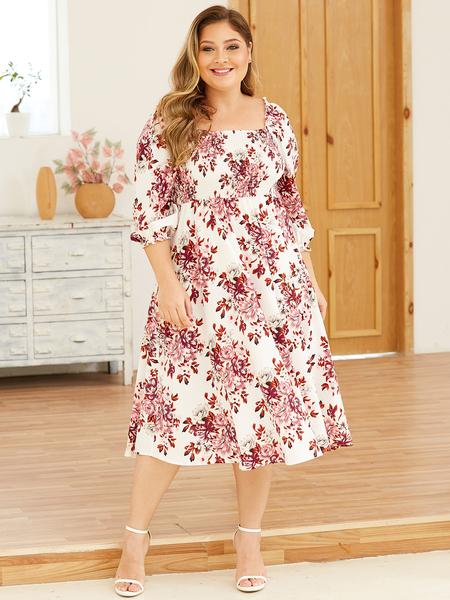 YOINS Plus Size White Random Floral Print Smocked Dress