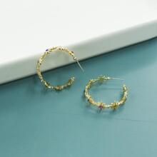 Rhinestone Decor Hoop Earrings