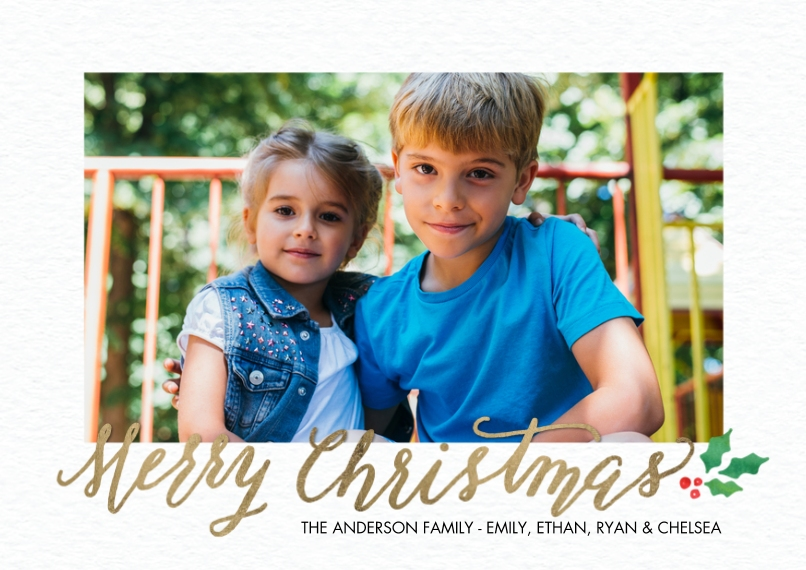 Christmas Photo Cards 5x7 Cards, Premium Cardstock 120lb with Elegant Corners, Card & Stationery -Christmas Rustic Holly