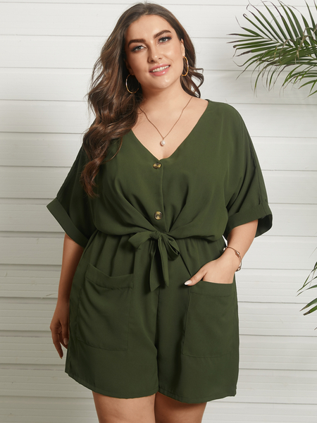 YOINS Plus Size V-neck Button Design Side Pockets Tie-up Design Half Sleeves Playsuit