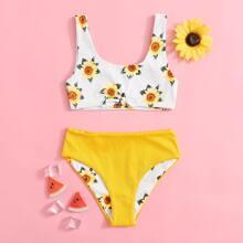 Bañador bikini de niñas de canale con estampado de girasol