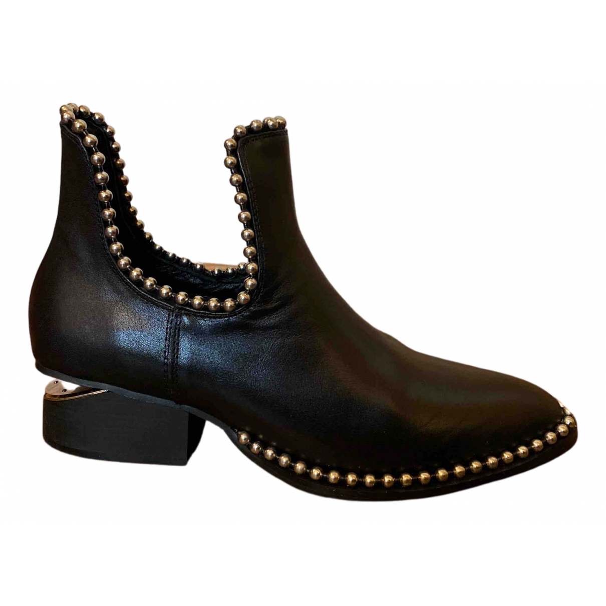 Non Signé / Unsigned N Black Leather Ankle boots for Women 38 EU