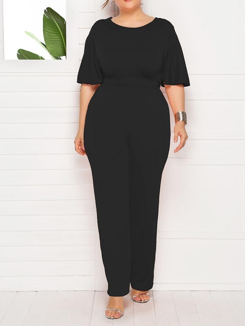 Ericdress PlusSize Full Length Plain High Waist Slim Jumpsuit