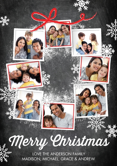 Christmas Photo Cards 5x7 Cards, Premium Cardstock 120lb with Scalloped Corners, Card & Stationery -Christmas Snowflakes Photo Wreath
