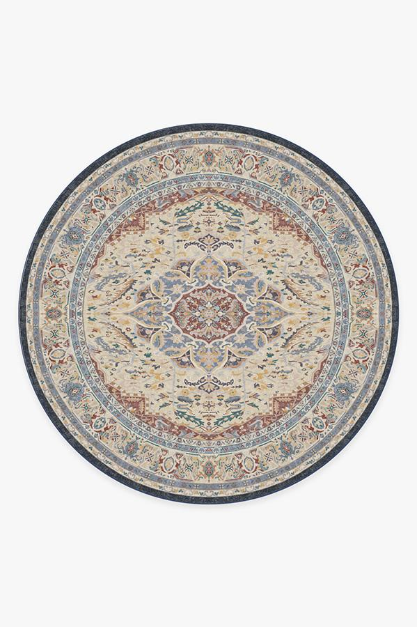 Washable Rug Cover | Malileh Heriz Saffron Rug | Stain-Resistant | Ruggable | 8' Round