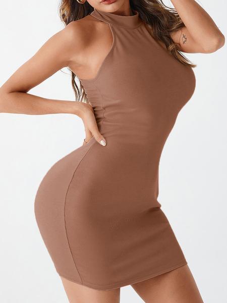 YOINS Button Design Knit Halter Sleeveless Dress