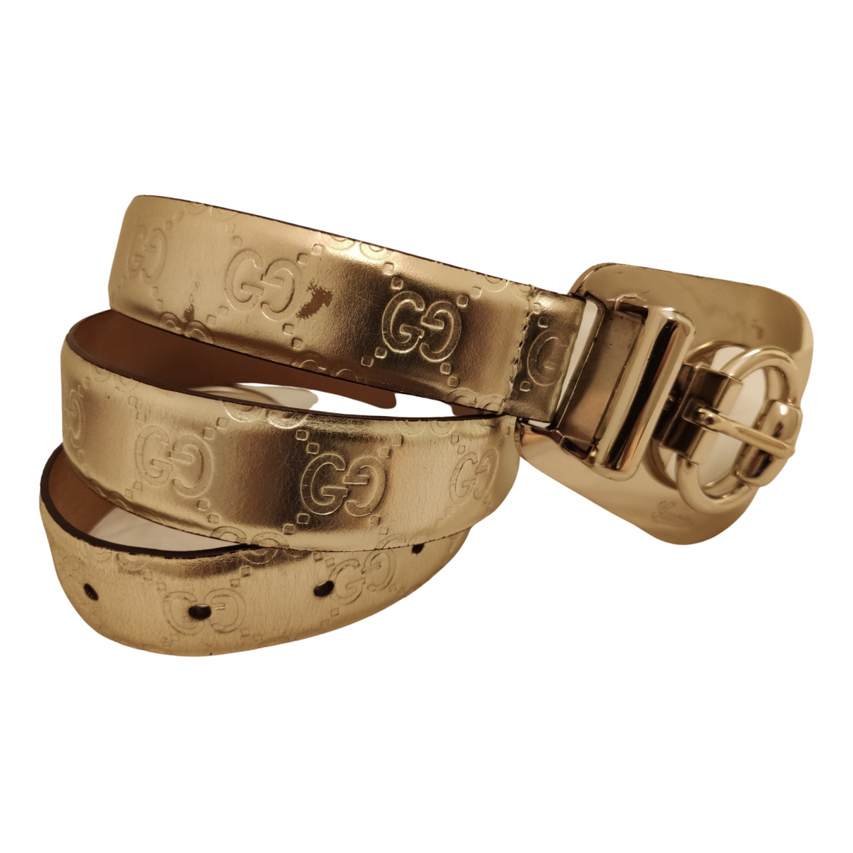 Gucci \N Gold Patent leather belt for Women S International
