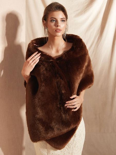 Milanoo Wedding Wraps Coffee Brown Sleeveless Faux Fur Bridal Cover Up