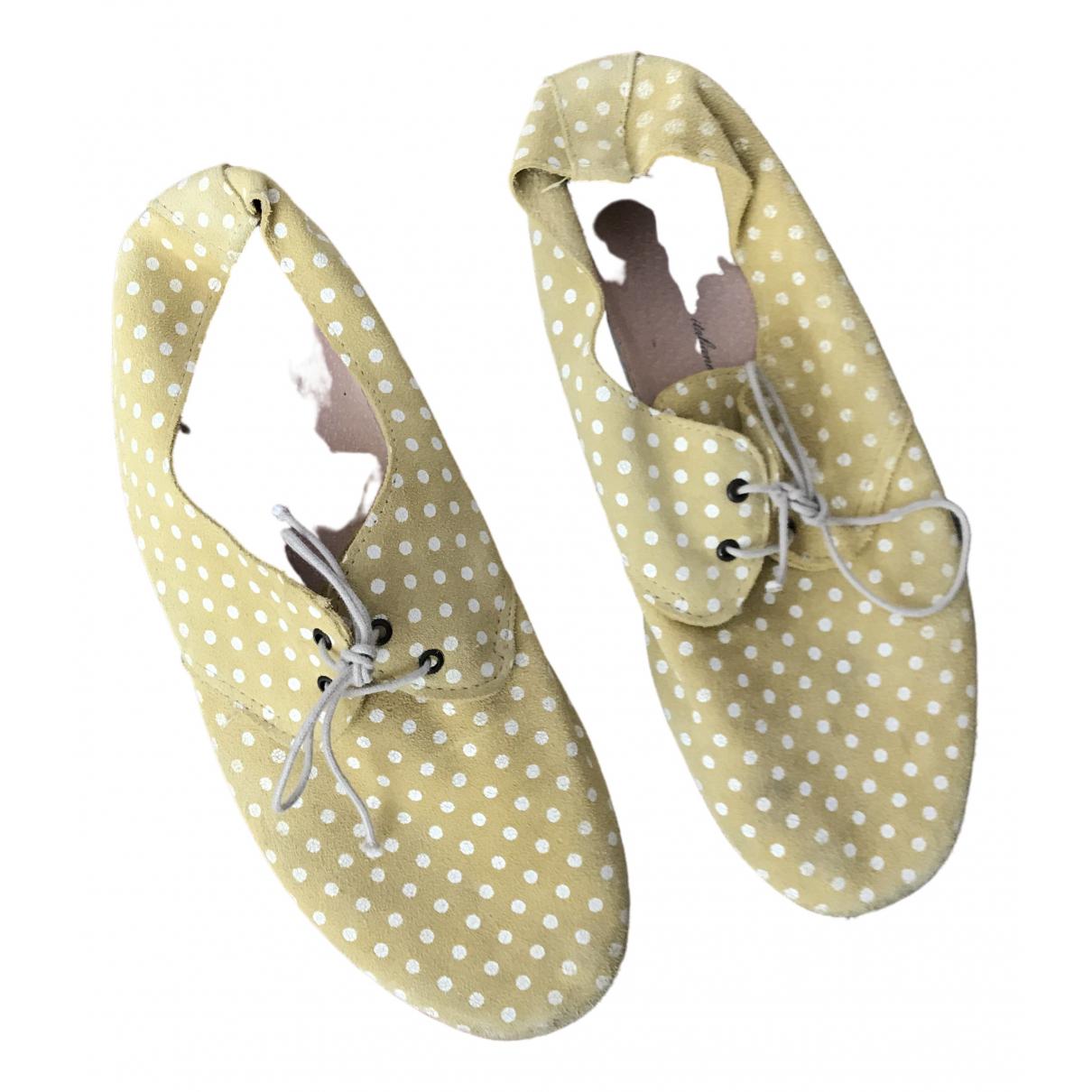 Anniel - Derbies   pour femme en suede - jaune