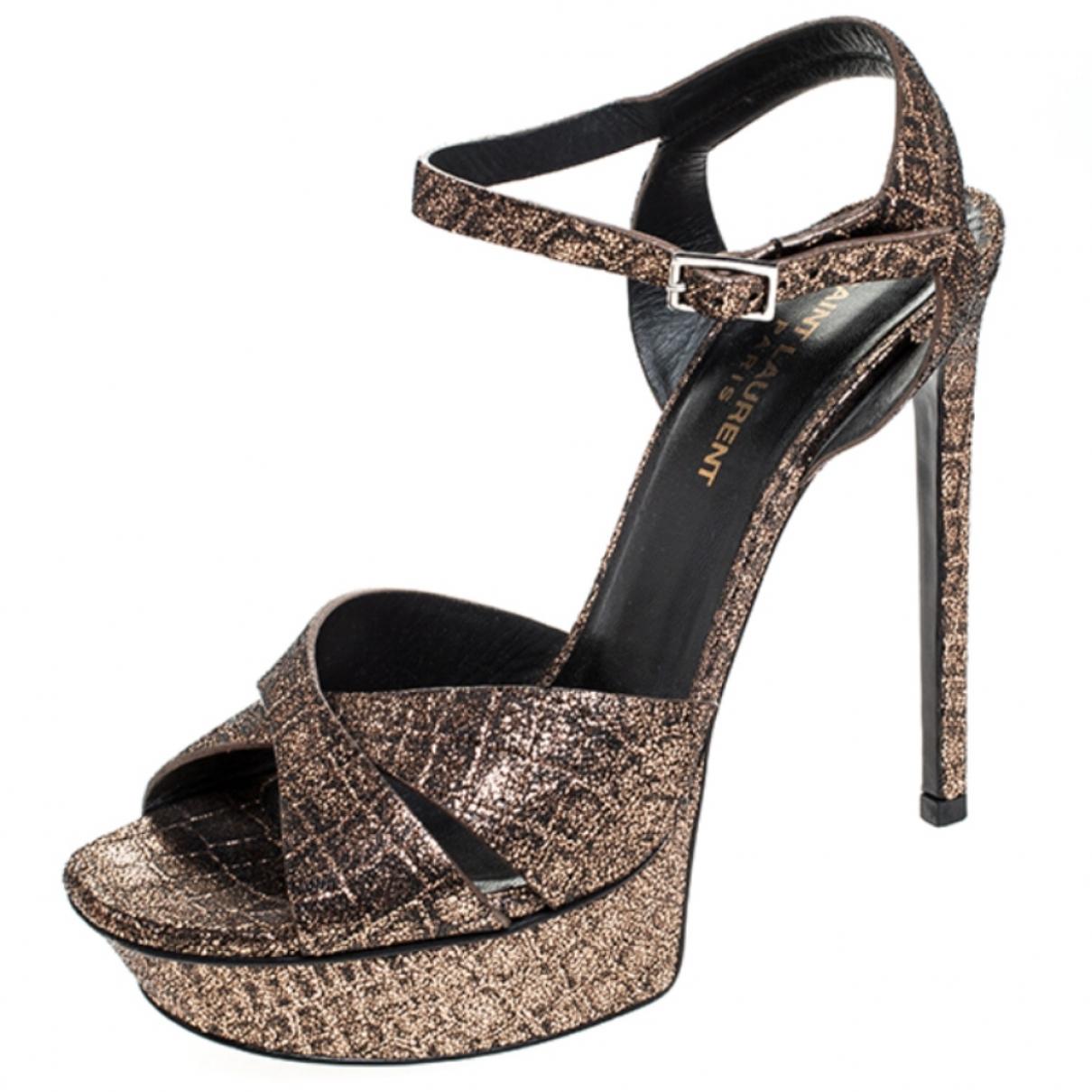 Saint Laurent \N Metallic Leather Sandals for Women 38.5 EU