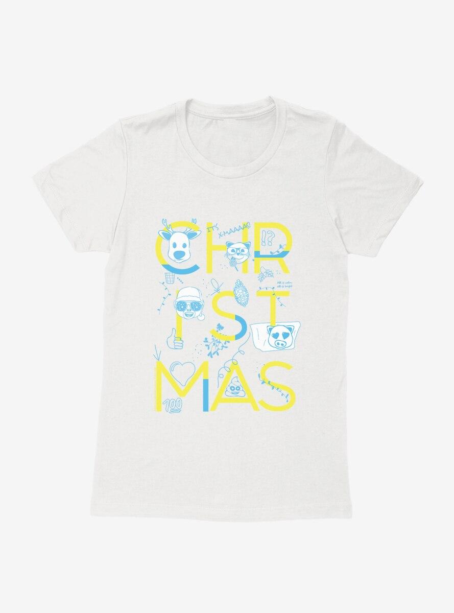 Emoji Holiday Icons Christmas Script Womens T-Shirt