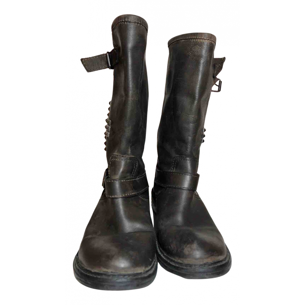 Non Signe / Unsigned \N Stiefel in  Braun Polyester