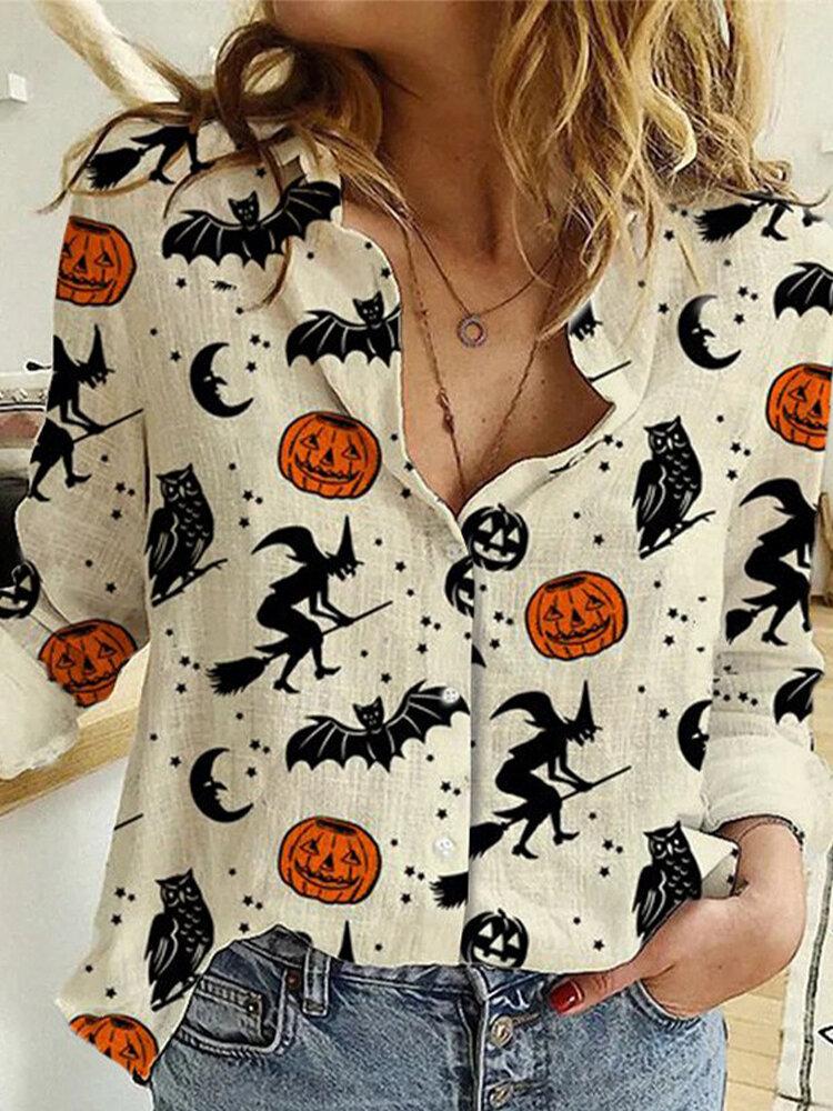 Halloween Pumpkin Print Long Sleeve Cotton Plus Size Shirt