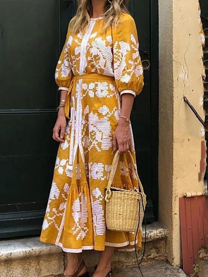 Ericdress Three-Quarter Sleeve Print Round Neck A-Line Floral Dress