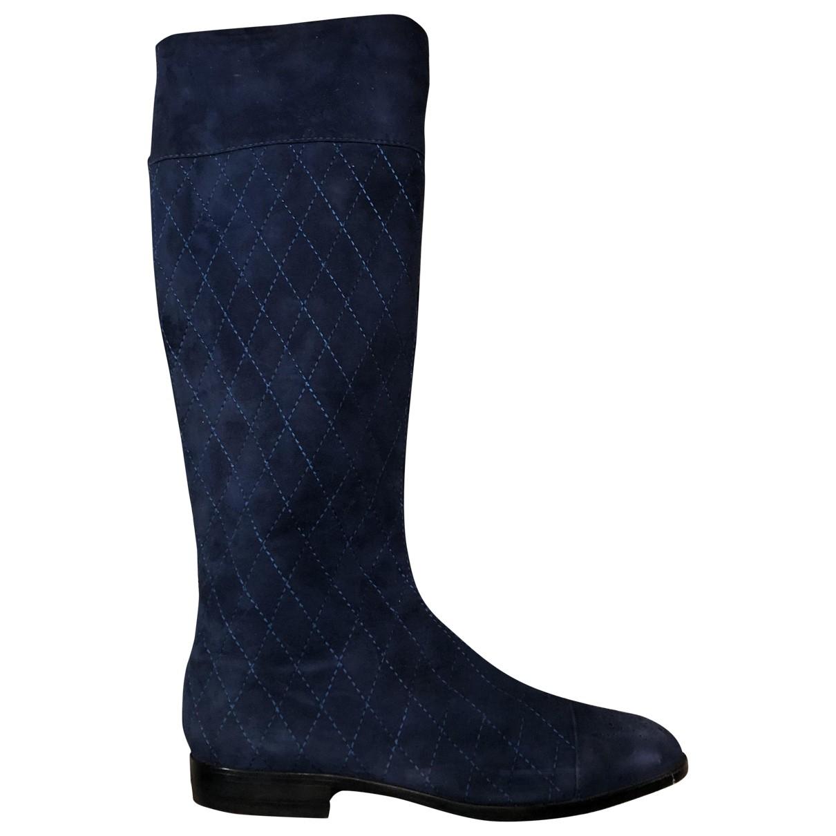 Gianni Versace - Bottes   pour femme en suede - bleu