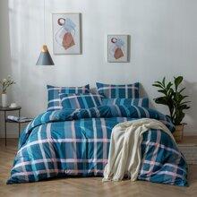 Bettwaesche Set mit Karo Muster ohne Fuellstoff