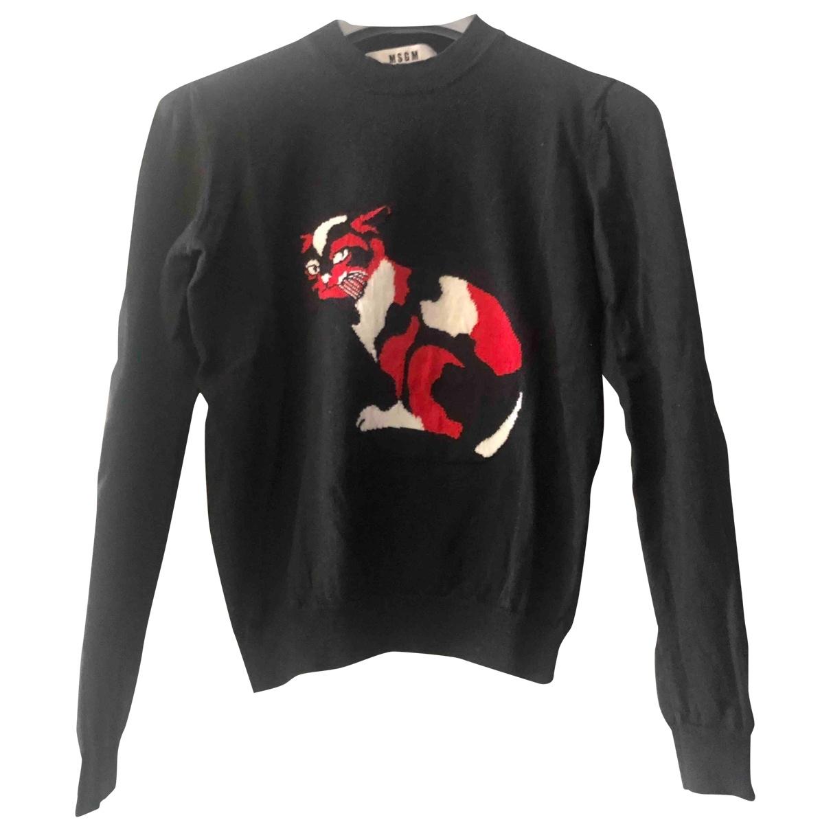 Msgm - Pull   pour femme en laine - noir